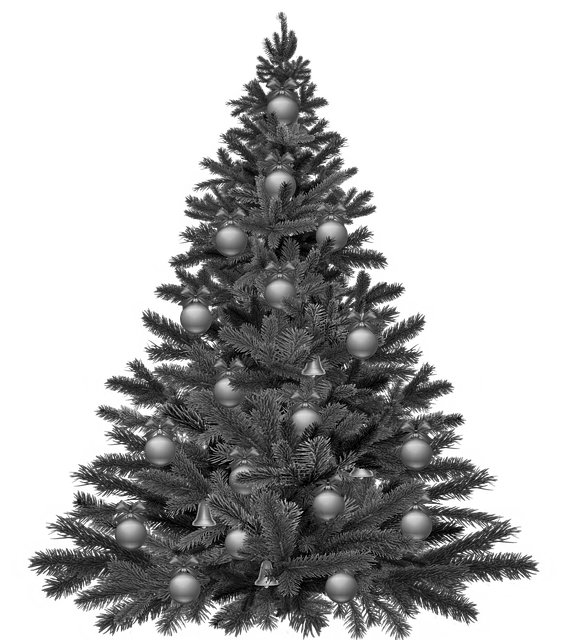 Christmas tree with decorations, monochromatic